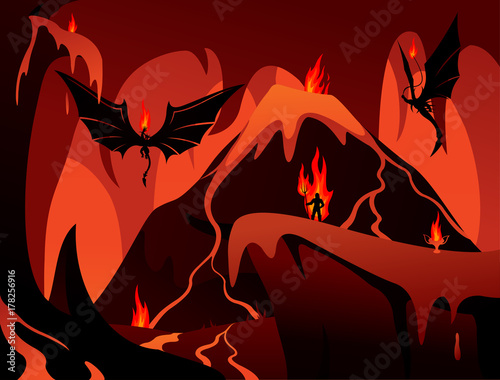 Leinwand Poster Vector art with hell, volcano, demons and human in fire