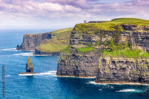 Plakat Falezy Moher falezy Irlandia podróżują dennego natura ocean
