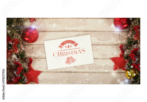 Christmas Notecard.Notecard With Christmas Decorations Mockup Buy This Stock Template