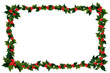 canvas print picture - Illustation of holly leaves and berries in a Christmas frame