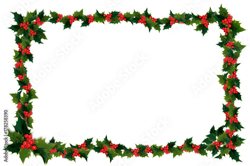 Photo  Illustation of holly leaves and berries in a Christmas frame