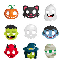 Vector Set Of Halloween Head Cartoon Icons Isolated On White