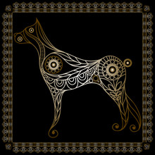 Lace Illustration With Dog Gold