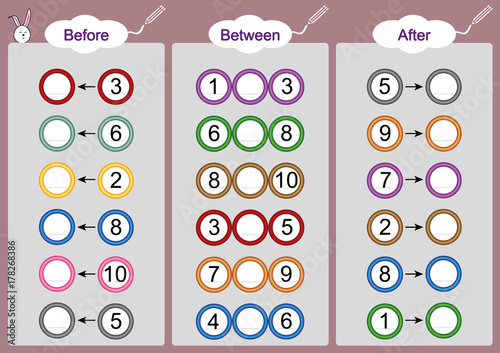 What comes Before-Between and After, math worksheets for kids - Buy ...