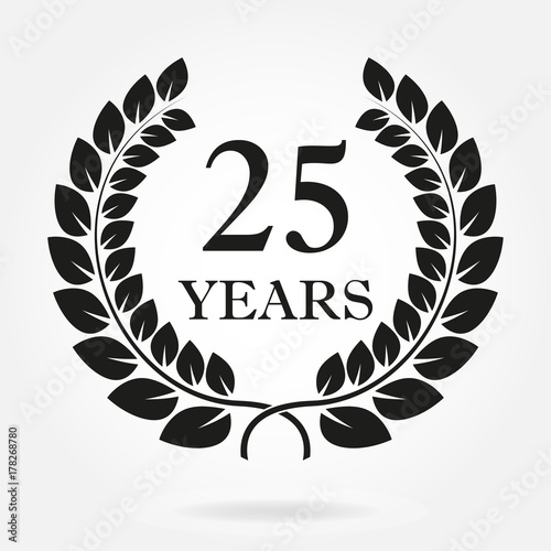 25 years. Anniversary or birthday icon with 25 years and laurel ...