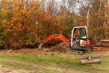 Mini Excavator On Construction...
