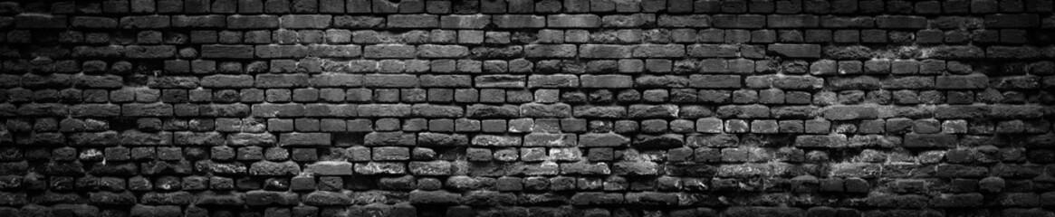 Czarny Stary ściana z cegieł panoramiczny tło w wysokiej rozdzielczości