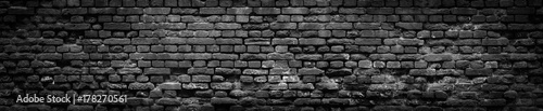 Obraz Black Old Brick wall panoramic background in high resolution - fototapety do salonu