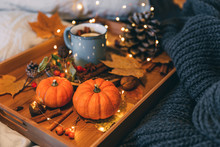 Glass Of Hot Steaming Tea And Autumn Plants On Wooden Table .