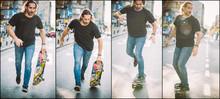 Street Skateboarding Jump And Trick Sequence. Free Ride School Skateboard