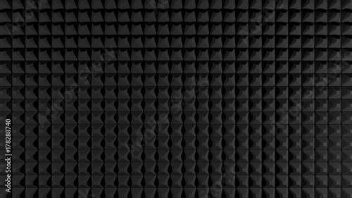 Black acoustic foam like pattern texture, render. Fototapet