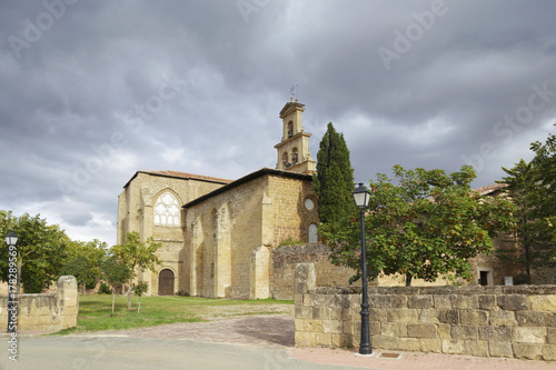 Entrance of the 12th century Cistercian monastery of Saint Mary in Cañas, La Rioja, Spain.