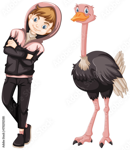 Fotomural Teenage boy with cute ostrich