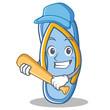 Playing Baseball flip flops character cartoon