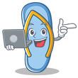 With laptop flip flops character cartoon