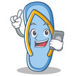 With phone flip flops character cartoon