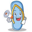 With megaphone flip flops character cartoon