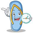 With clock flip flops character cartoon