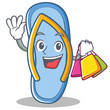 Shopping flip flops character cartoon