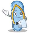 Waiter flip flops character cartoon