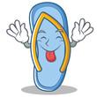 Tongue out flip flops character cartoon