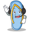 With headphone flip flops character cartoon