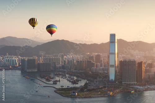 Photo Hong Kong skyline at sunrise