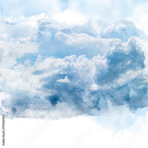 niebieskie-niebo-z-biel-chmura-artystyczny-akwarela-obraz-retusz-streszczenie