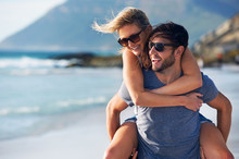Beach Laughing Couple