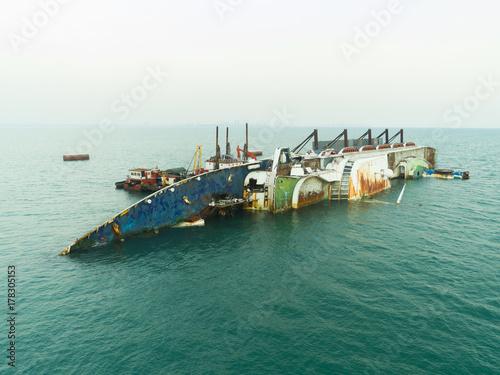 Garden Poster Shipwreck sea port Thailand