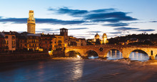 Verona, Adige River By Night