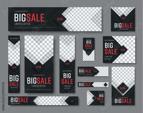 set of black web banners of standard sizes for sale with a place for photos Fototapete