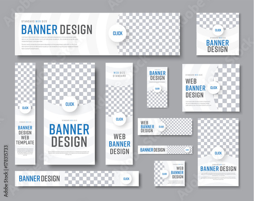 Design of white banners of standard sizes with a place for a photo Fototapete
