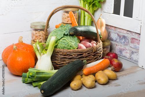 Keuken foto achterwand Groenten variety of raw vegetables on the wooden table