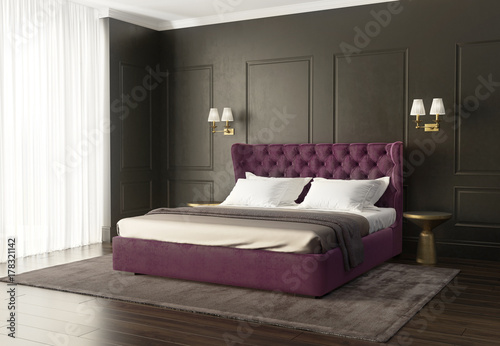 Classic luxury modern chic bedroom with tufted bed - Buy this stock ...