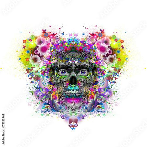Злой череп красочные иллюстрации искусства