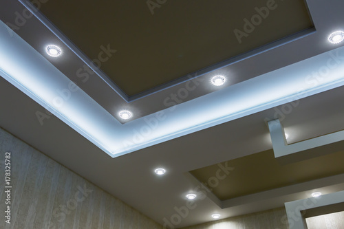 Fotografie, Obraz  suspended ceiling and drywall construction in the decoration of the apartment or house