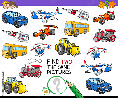 Foto op Canvas Cartoon cars find two the same vehicles activity game