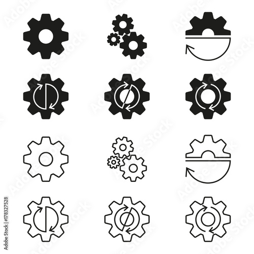 Photo  Gears, cogs wheels or sprocket icon set