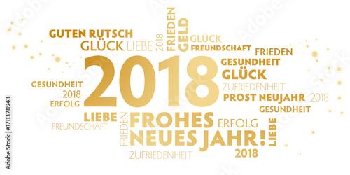 2018 Neujahrsgruss weiß und gold mit guten wünschen für das neue Jahr Plakát