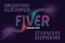 """Vector Geometric Font Named """"Fiver"""" Made From Five Gradient Color Lines"""