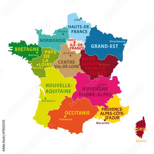 carte de france avec régions Carte de france colorée avec nouvelles régions depuis 2016.   Buy