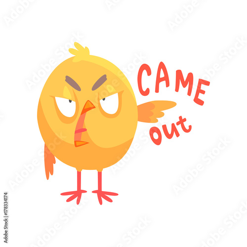 Fotografie, Tablou  Came out, funny angry cartoon comic chicken showing hand gesture vector Illustra