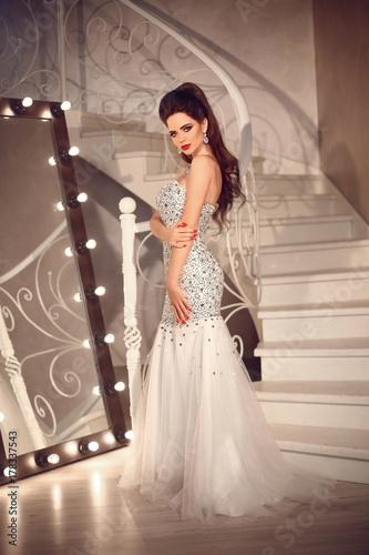 Bride In Wedding Dress In Luxurious Interior Elegant Brunette Lady