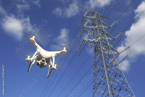 Valokuva  Drone and transmission towers