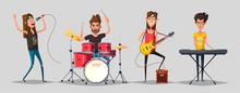 Rock Music Set. Old School Party. Cartoon Vector Illustration.