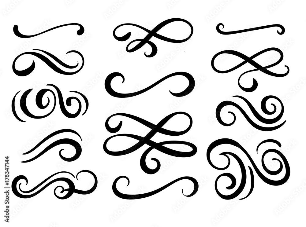 Fototapeta Set of hand drawn flourish elements. Vector illustration.
