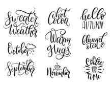 Fall Calligraphy Set. Big Set ...