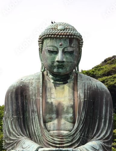 Plakat Główny widok Daibutsu, słynny wielki posąg Buddy brąz umieszczone w świątyni Kotokuin w Kamakura, Japonia.