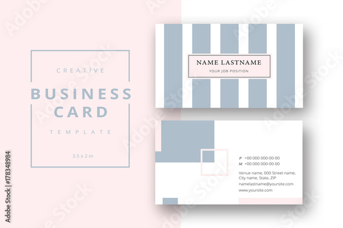 trendy minimal abstract business card template in pink and grey
